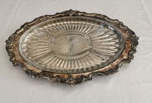 Trowel Silver Plate Tray With Glass Insert